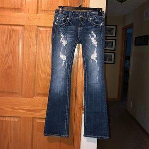 Miss Me sz 26 33L Bootcut Destructed Jeans Denim